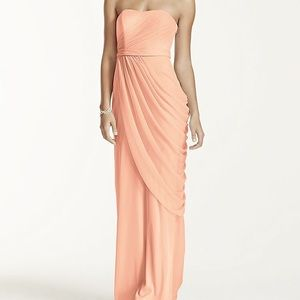 LONG STRAPLESS MESH DRESS WITH SIDE DRAPING